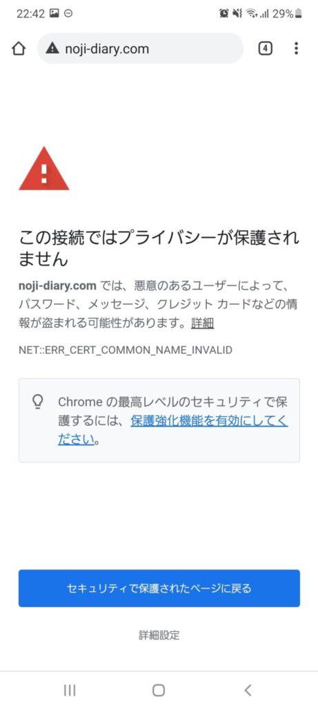 「この接続ではプライバシーが保護されません」画面